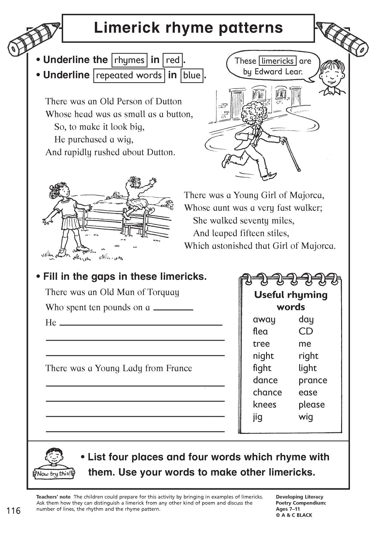 Grade 2 Poem Worksheets