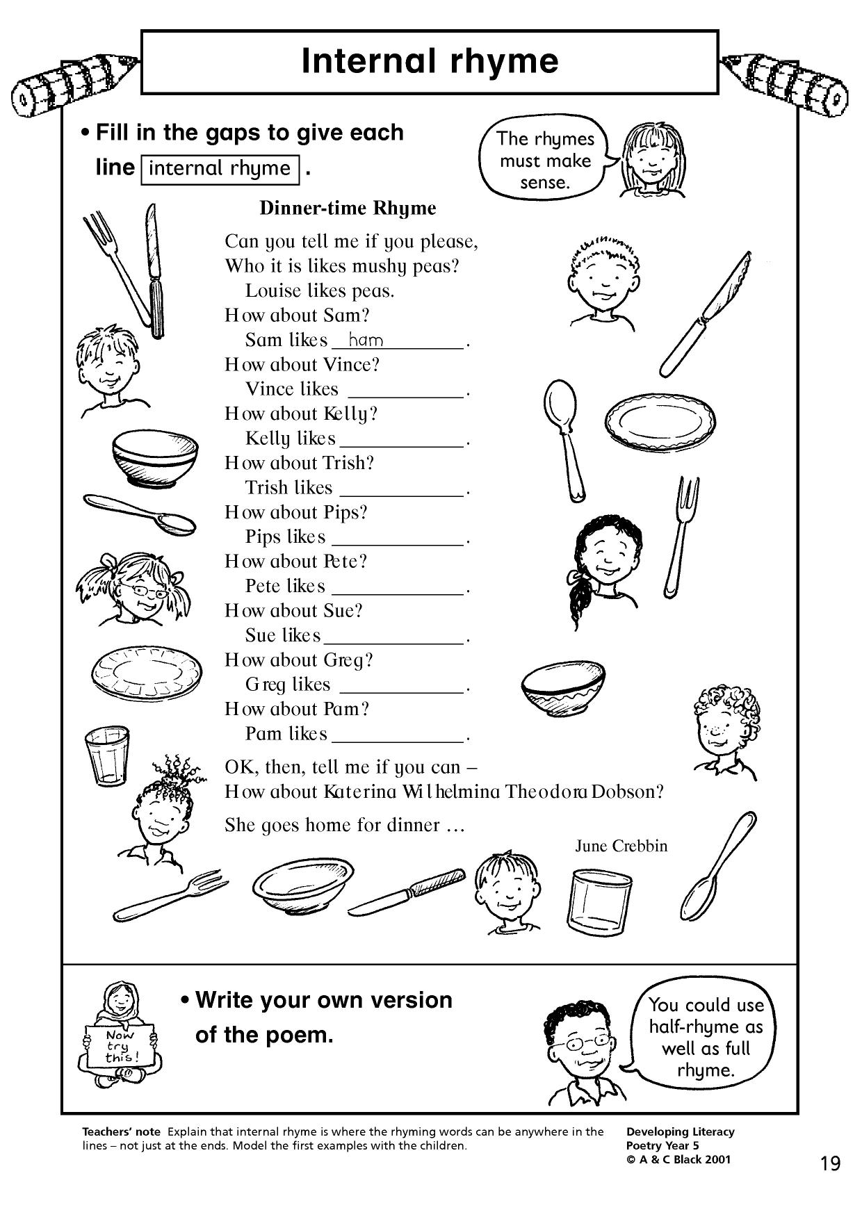 Printables Of Rhyming Words Worksheet Eyfs