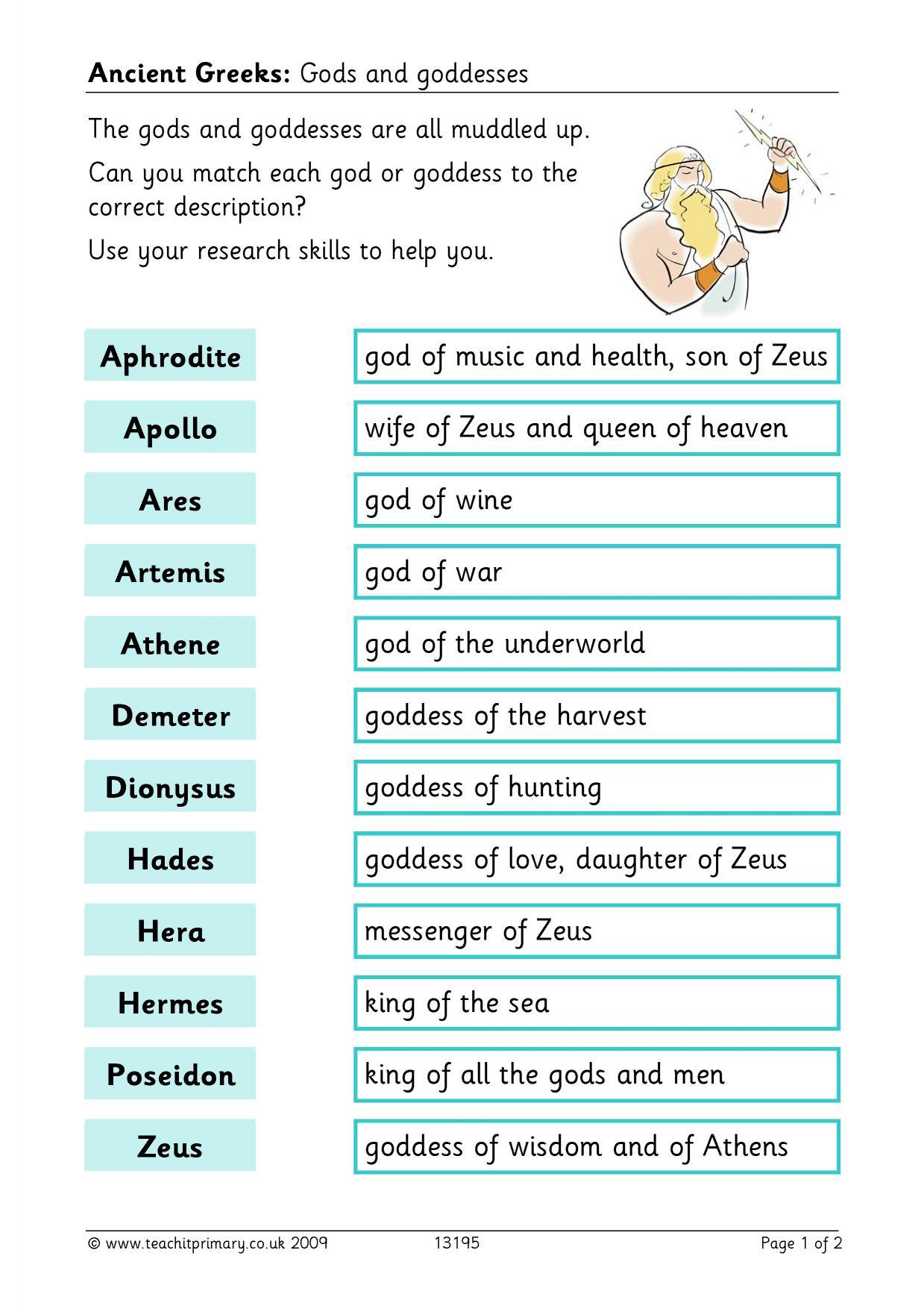 hight resolution of Ancient greek gods and goddesses primary homework help: Greek gods and  myths for children
