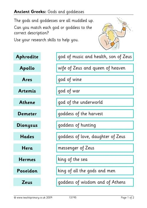 small resolution of Ancient greek gods and goddesses primary homework help: Greek gods and  myths for children