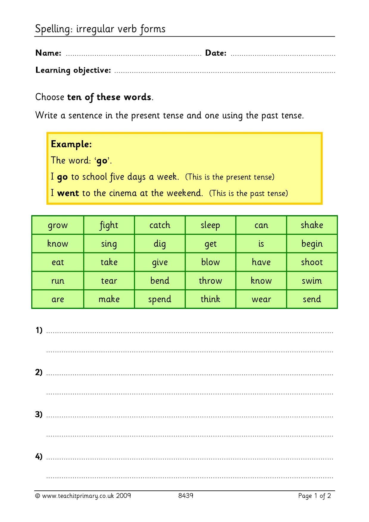 Spelling Ks2 Verbs
