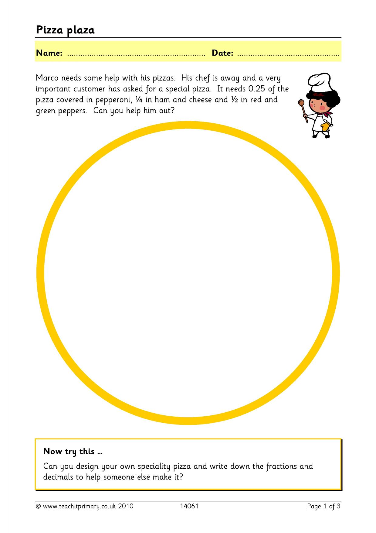 Pizza Sequencing Worksheet