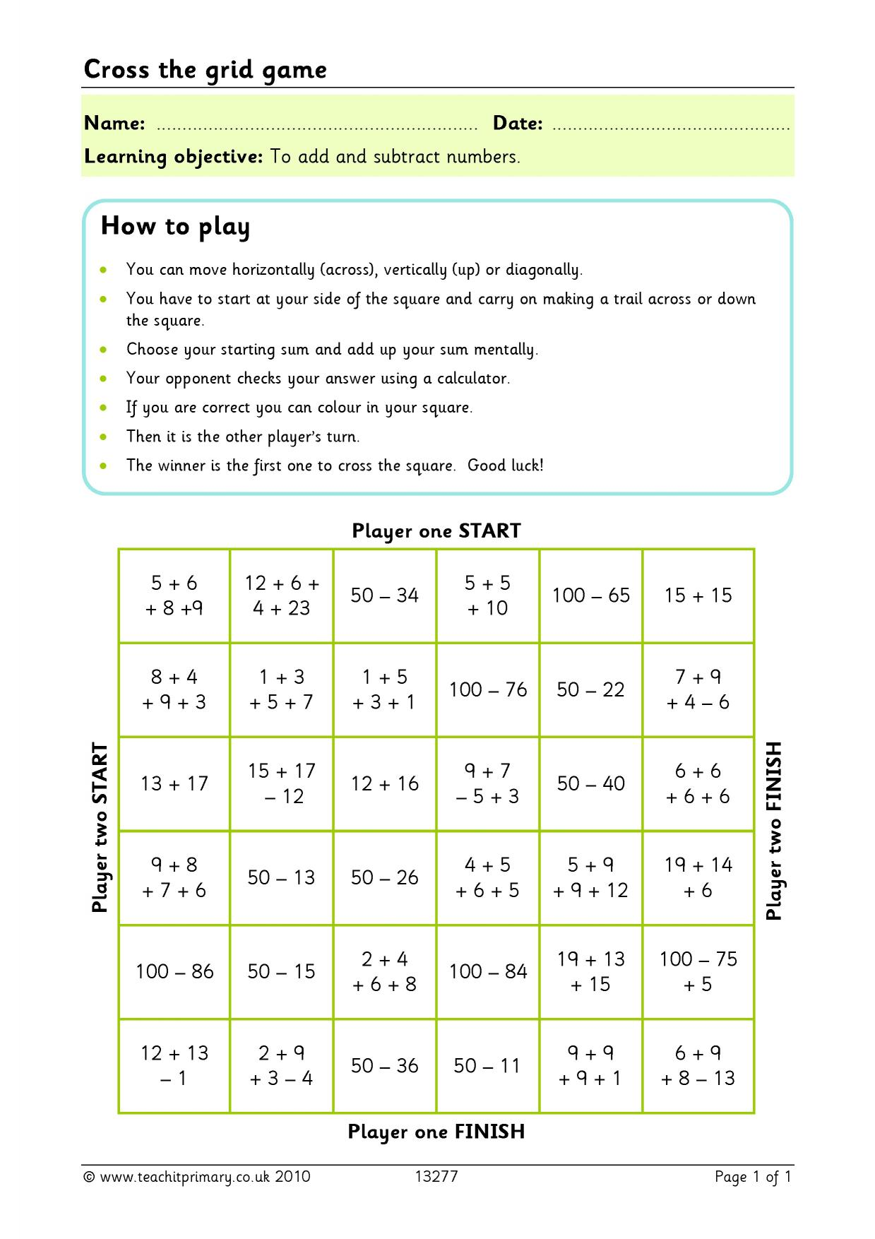 Challenging Addition And Subtraction