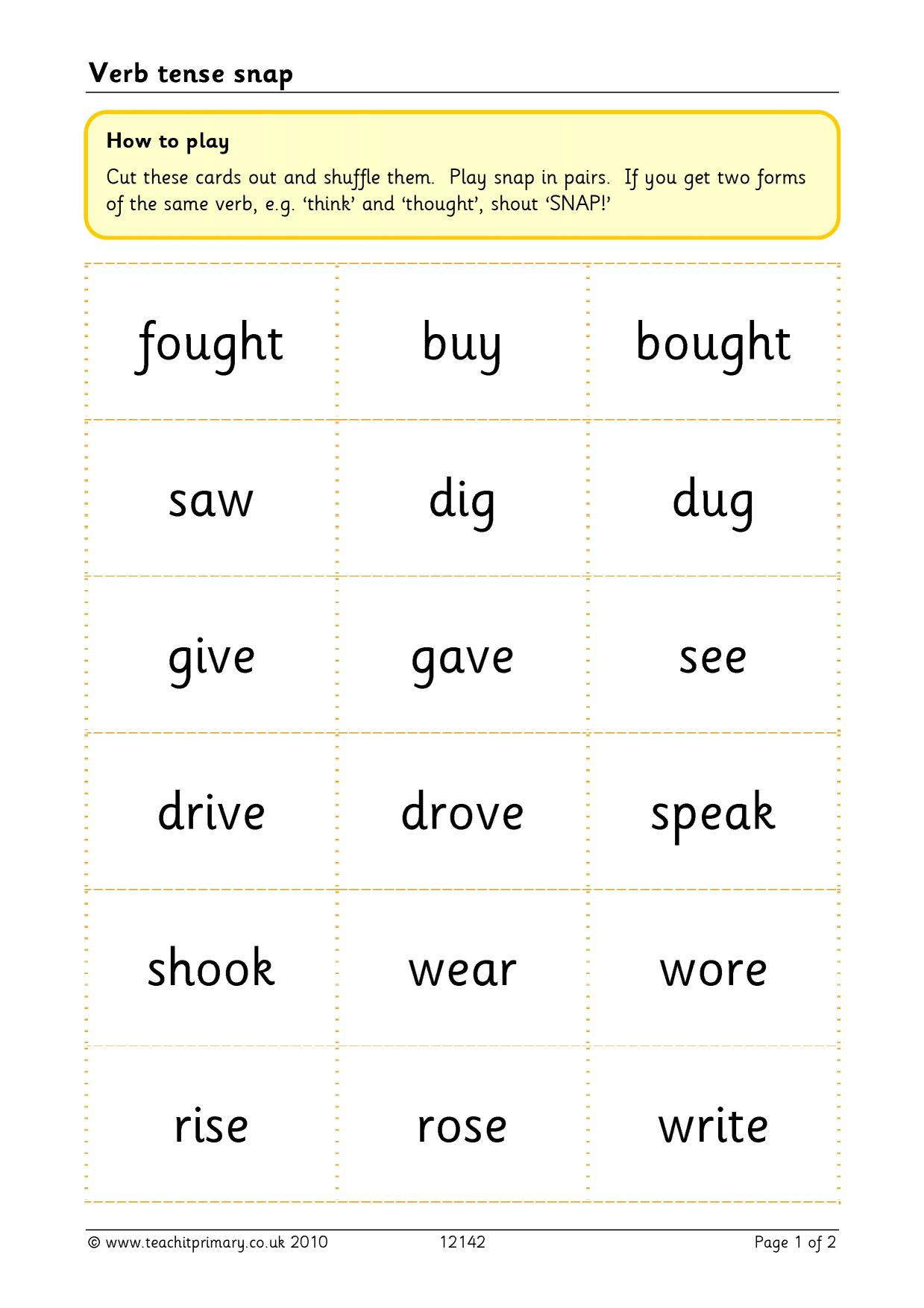 Irregular Past Tense Verbs Ks2 Worksheet