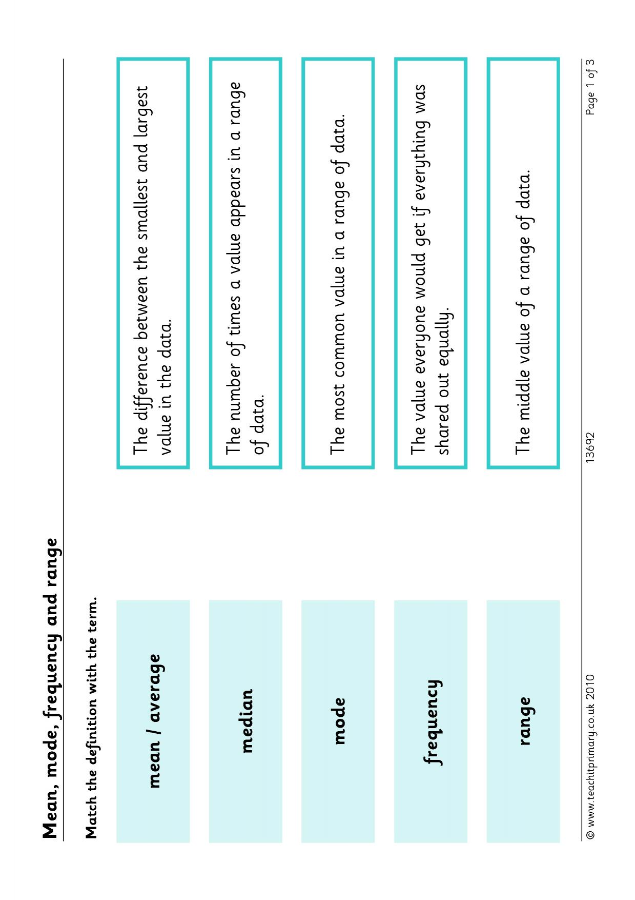 Mean Median Mode Bar Graph Worksheets Tes