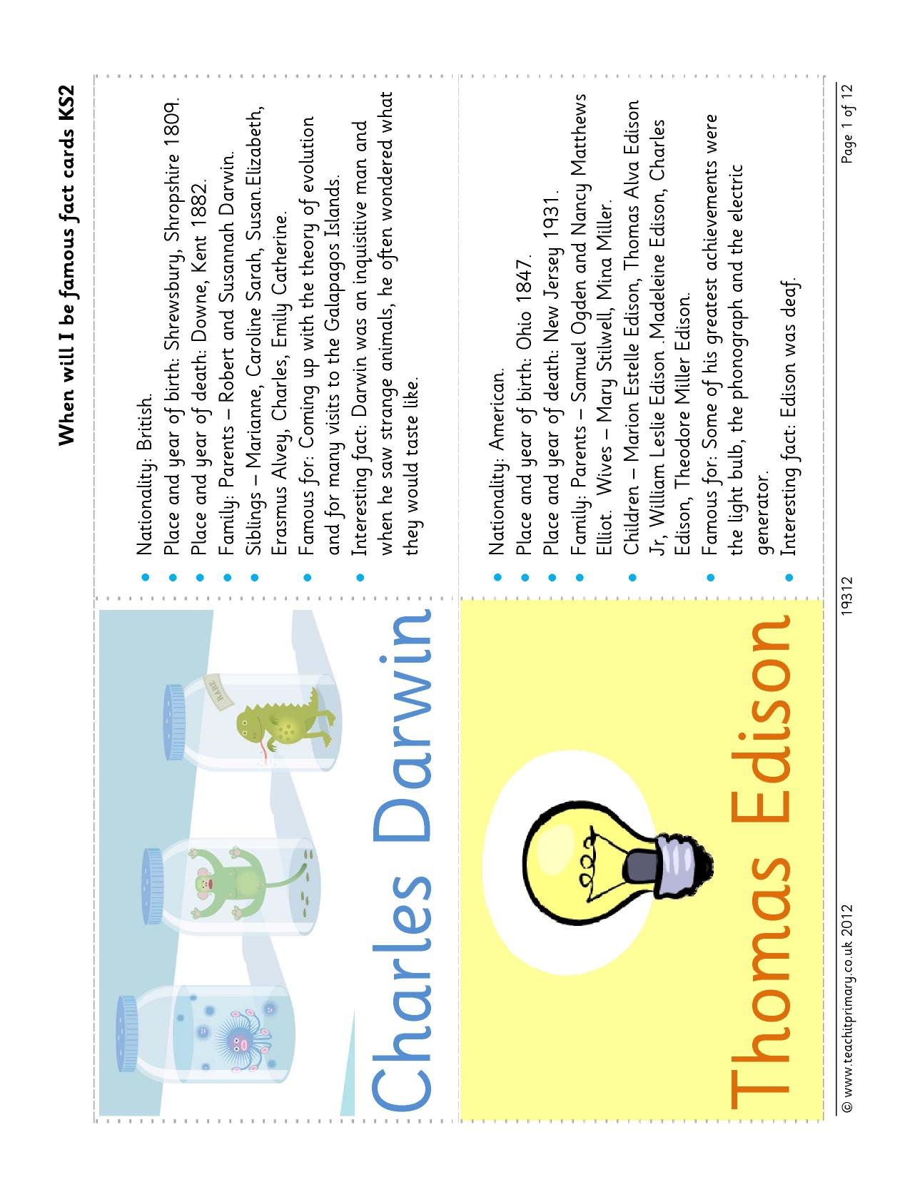 When Will I Be Famous Fact Cards Ks2