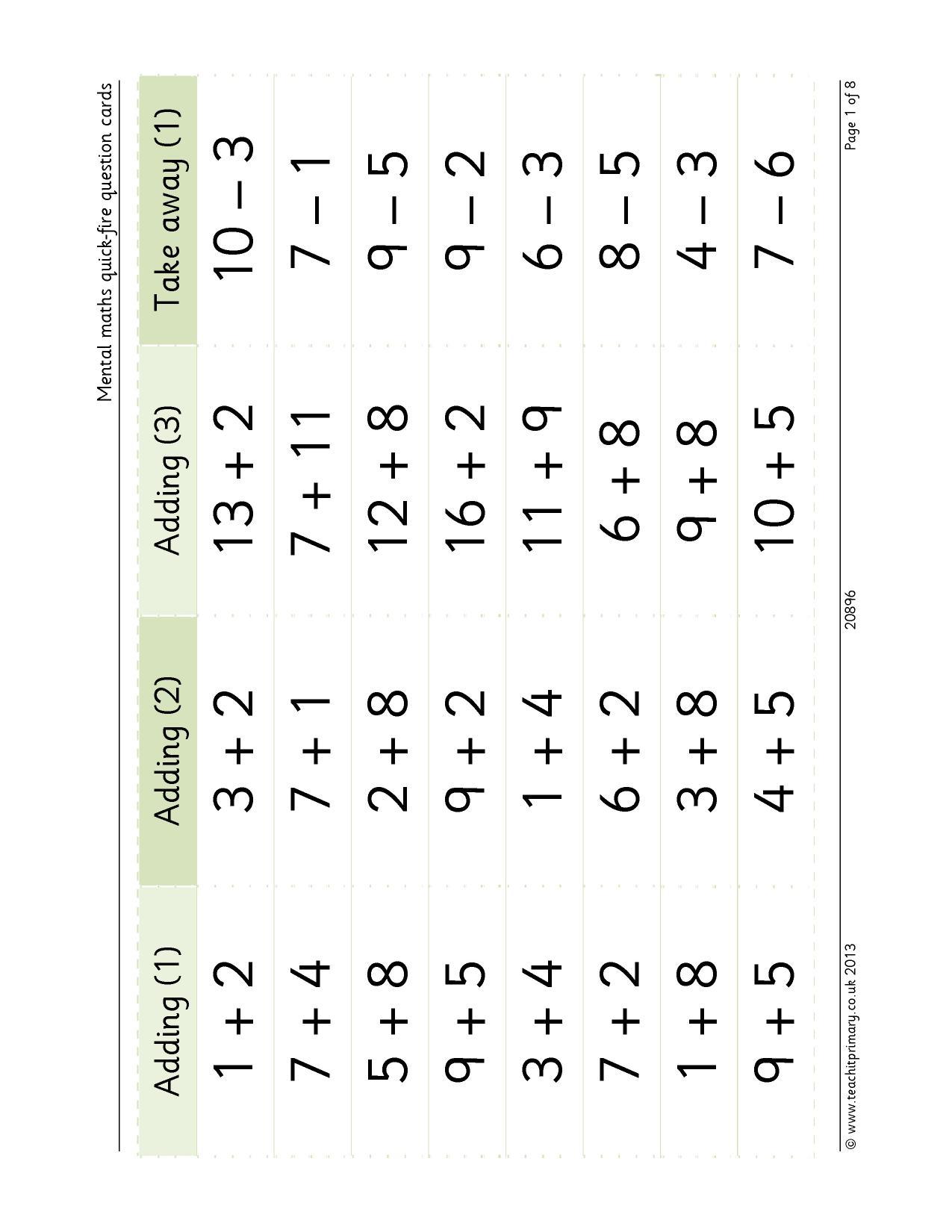 Mental Maths Quick Fire Question Cards
