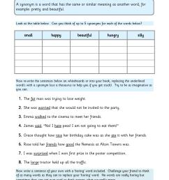 Synonyms Worksheet Ks2   Printable Worksheets and Activities for Teachers [ 1754 x 1239 Pixel ]