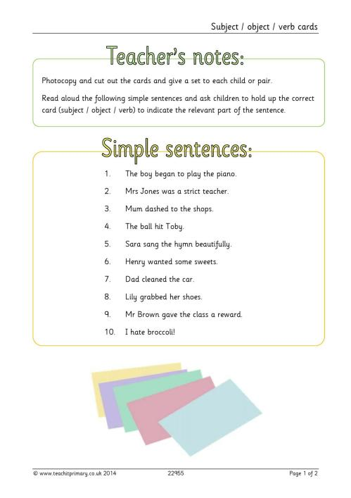 small resolution of EYFS   KS1   KS2   Simple sentences   Teachit Primary