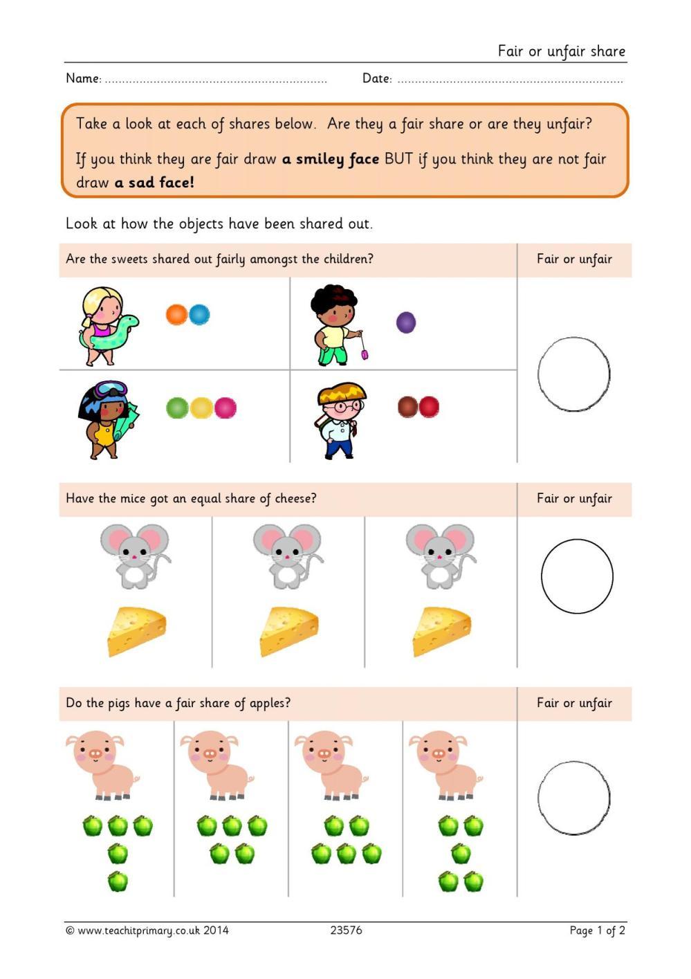 medium resolution of Fair Or Unfair Worksheet   Printable Worksheets and Activities for  Teachers