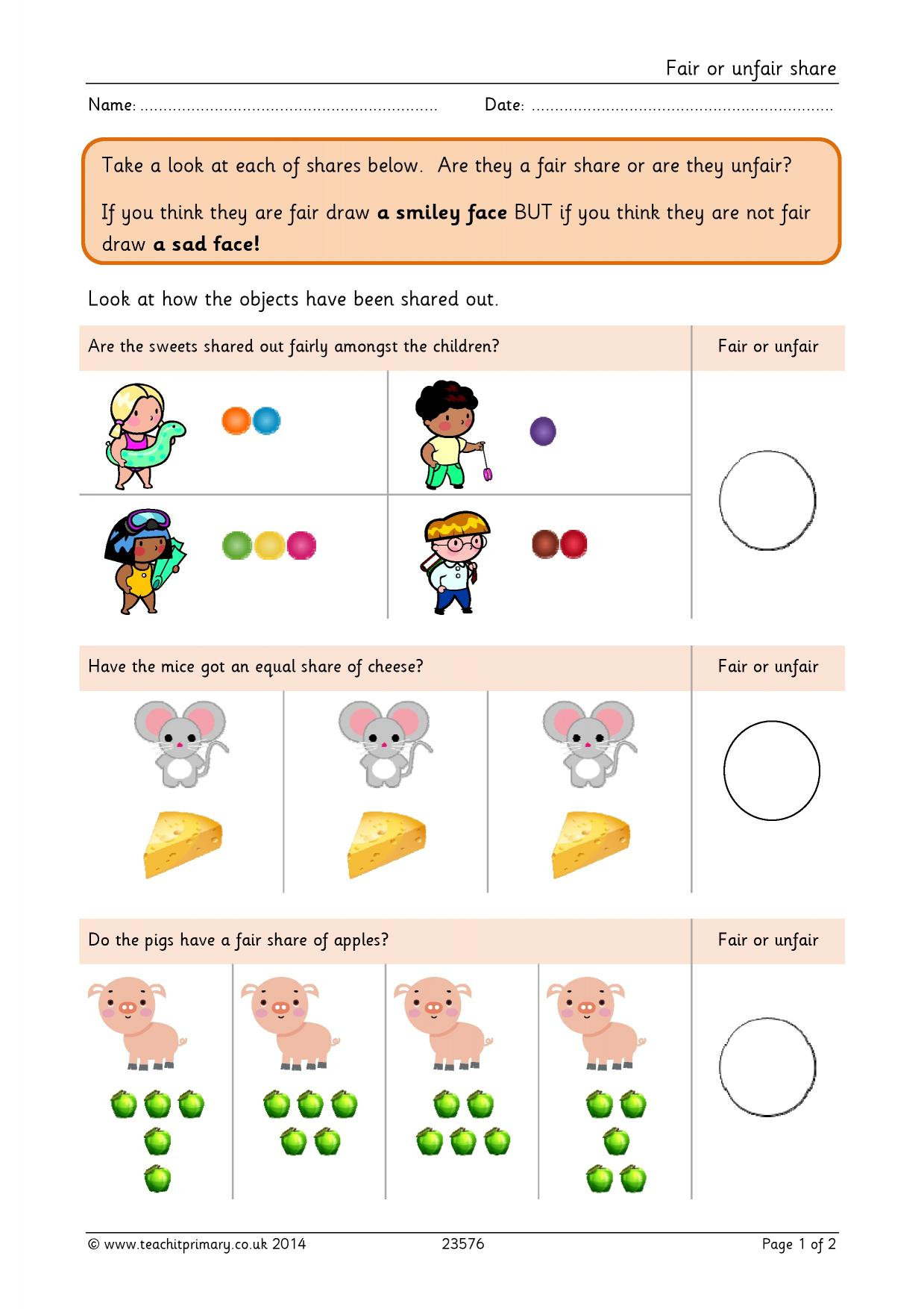 hight resolution of Fair Or Unfair Worksheet   Printable Worksheets and Activities for  Teachers