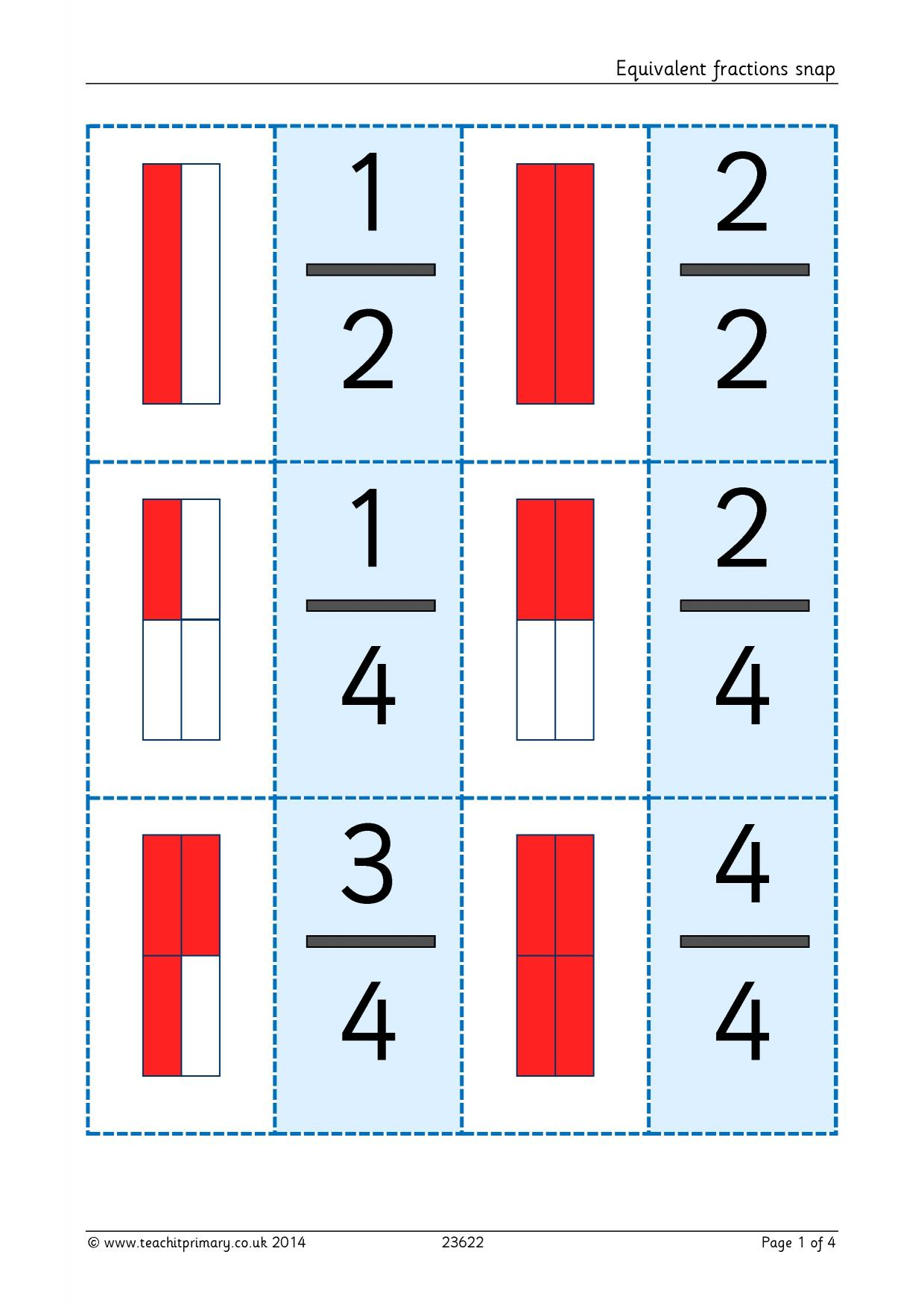 Equivalent Fractions Snap Ks2