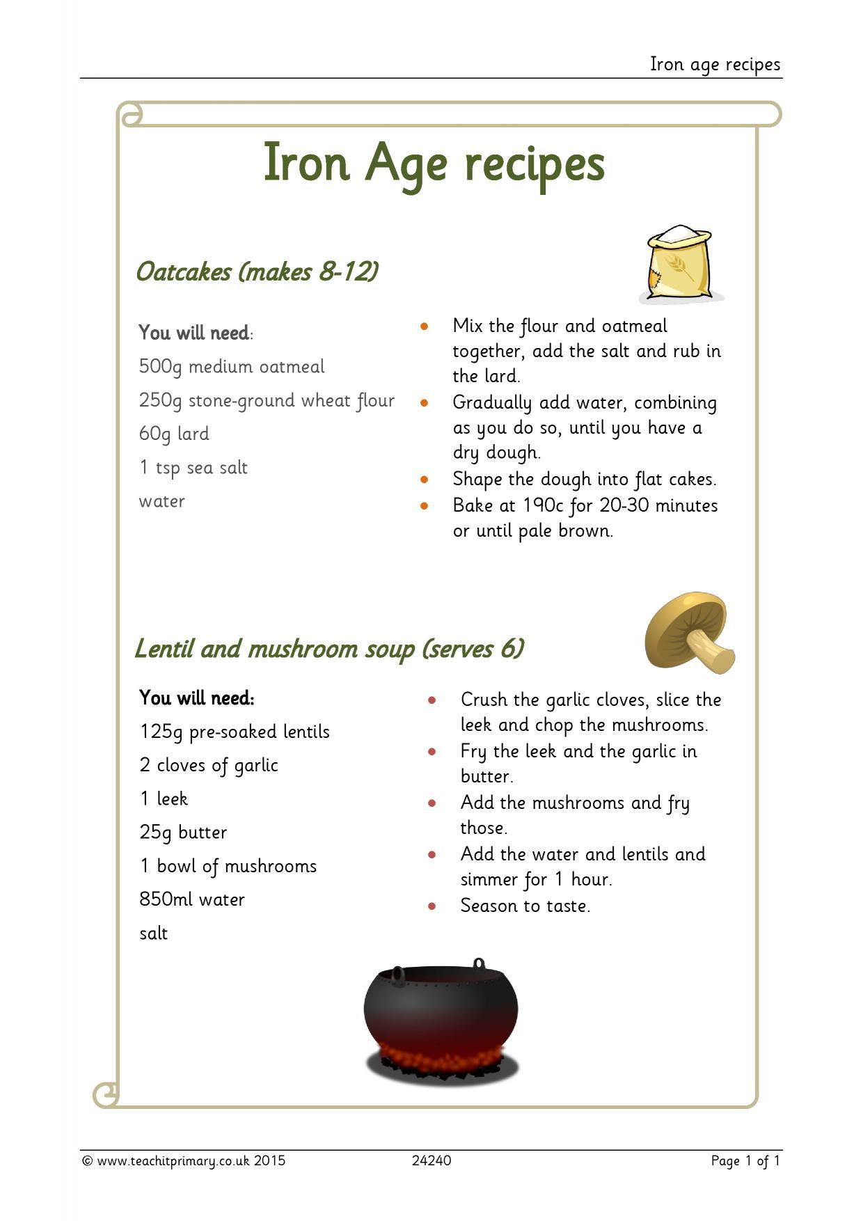 Recipe Comprehension Ks2