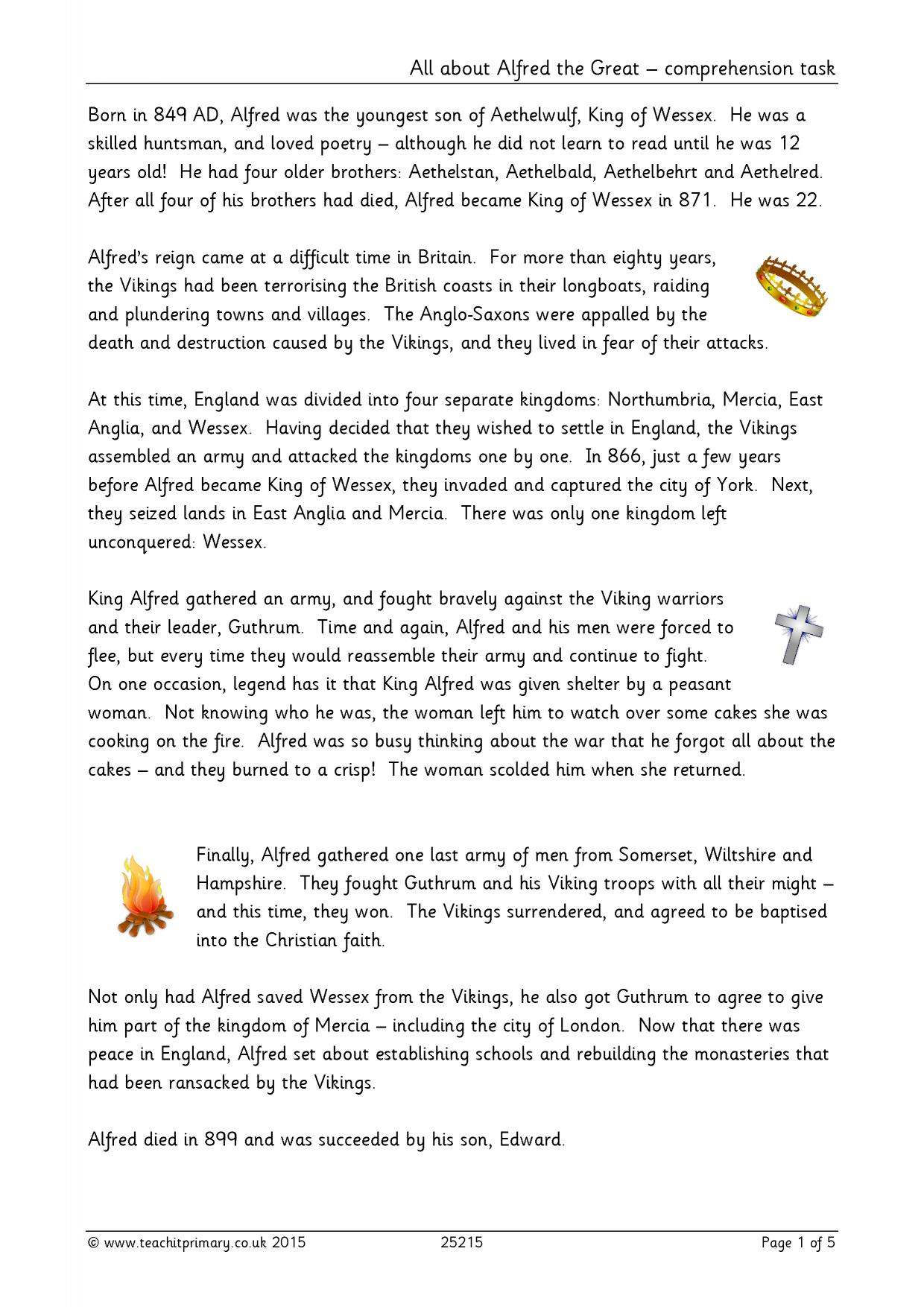 All About Alfred The Great Comprehension Task