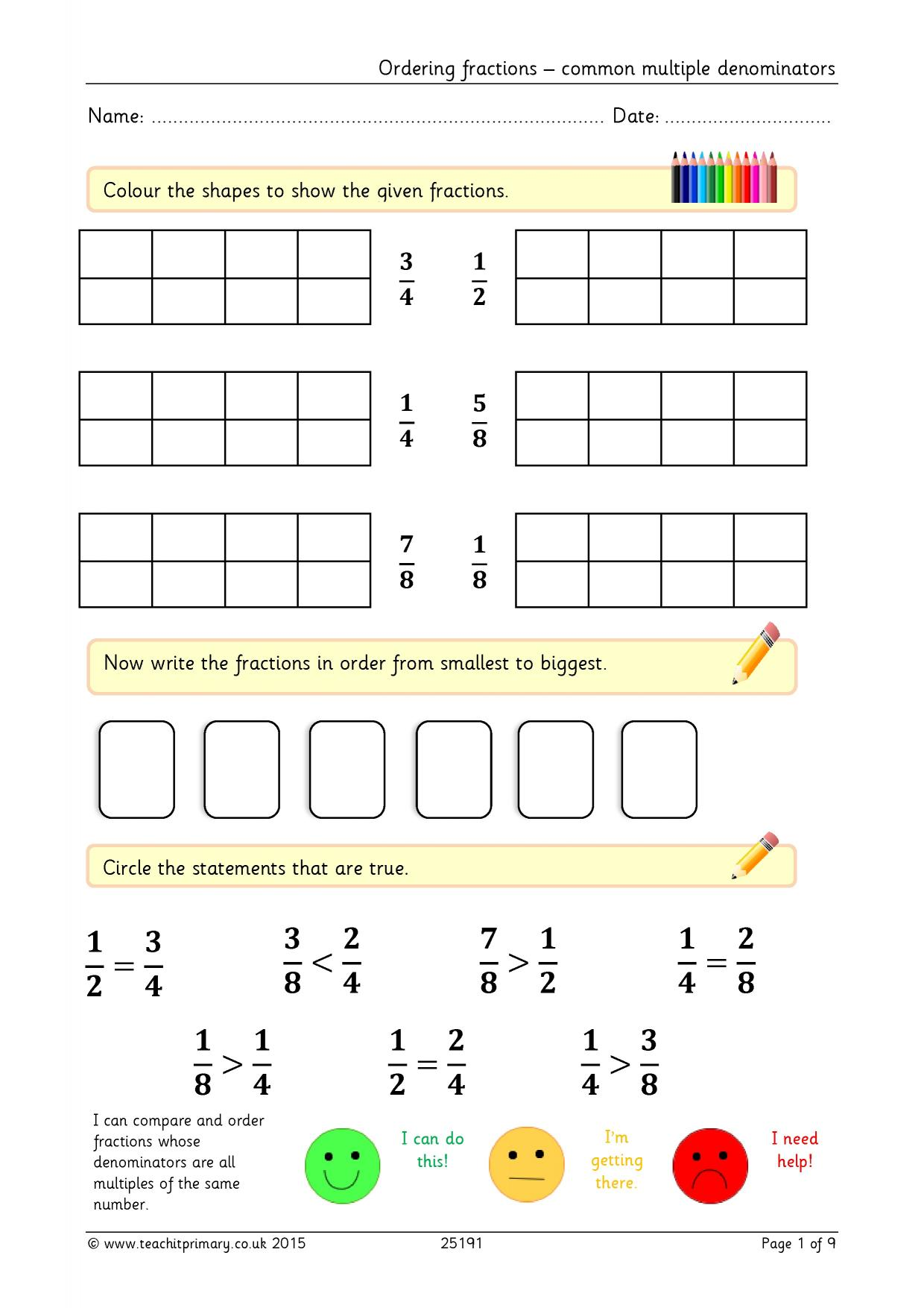 Eyfs Ks1 Fractions Including Decimals Teachit Primary