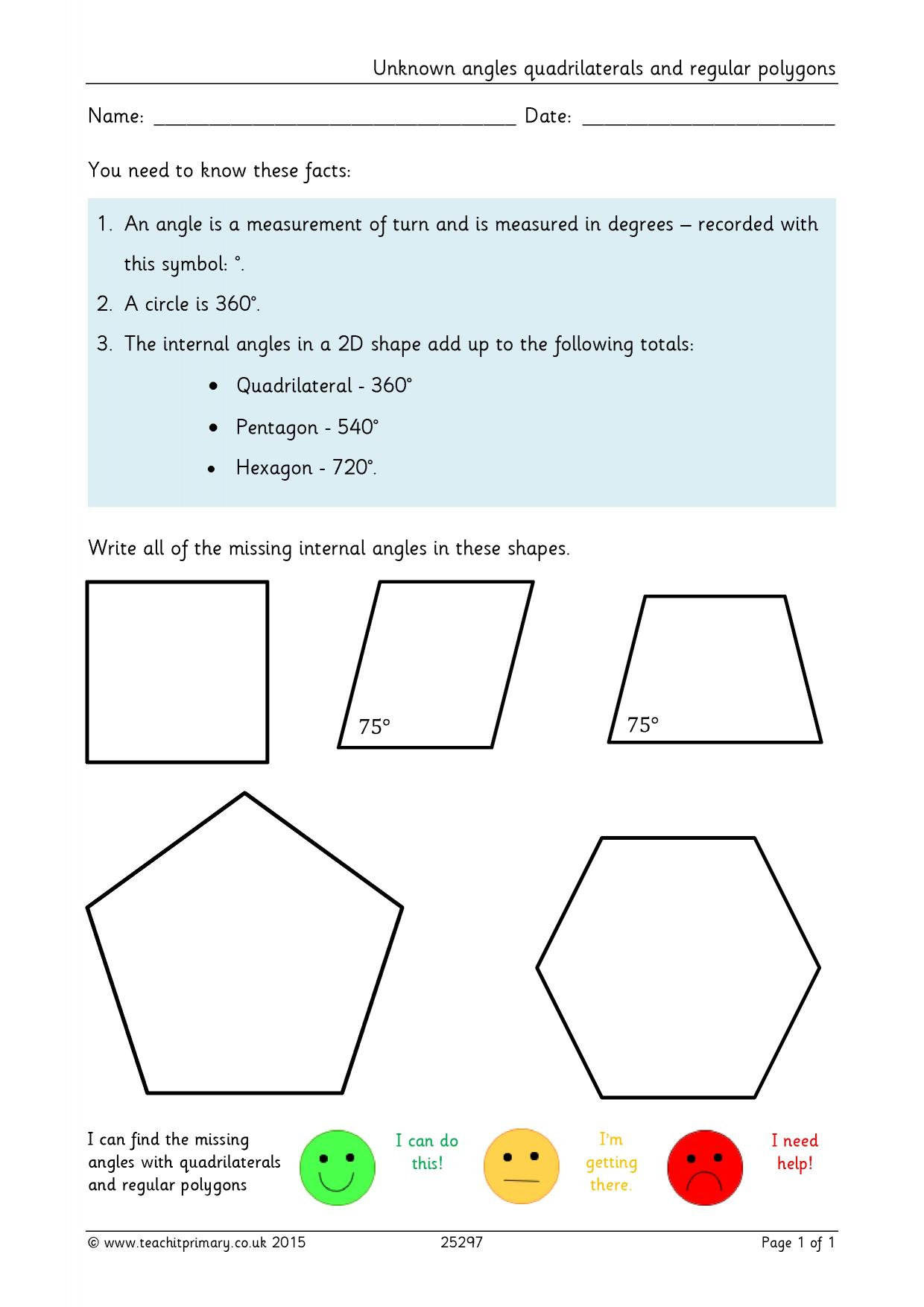 Worksheet On Quadrilaterals For Grade 9
