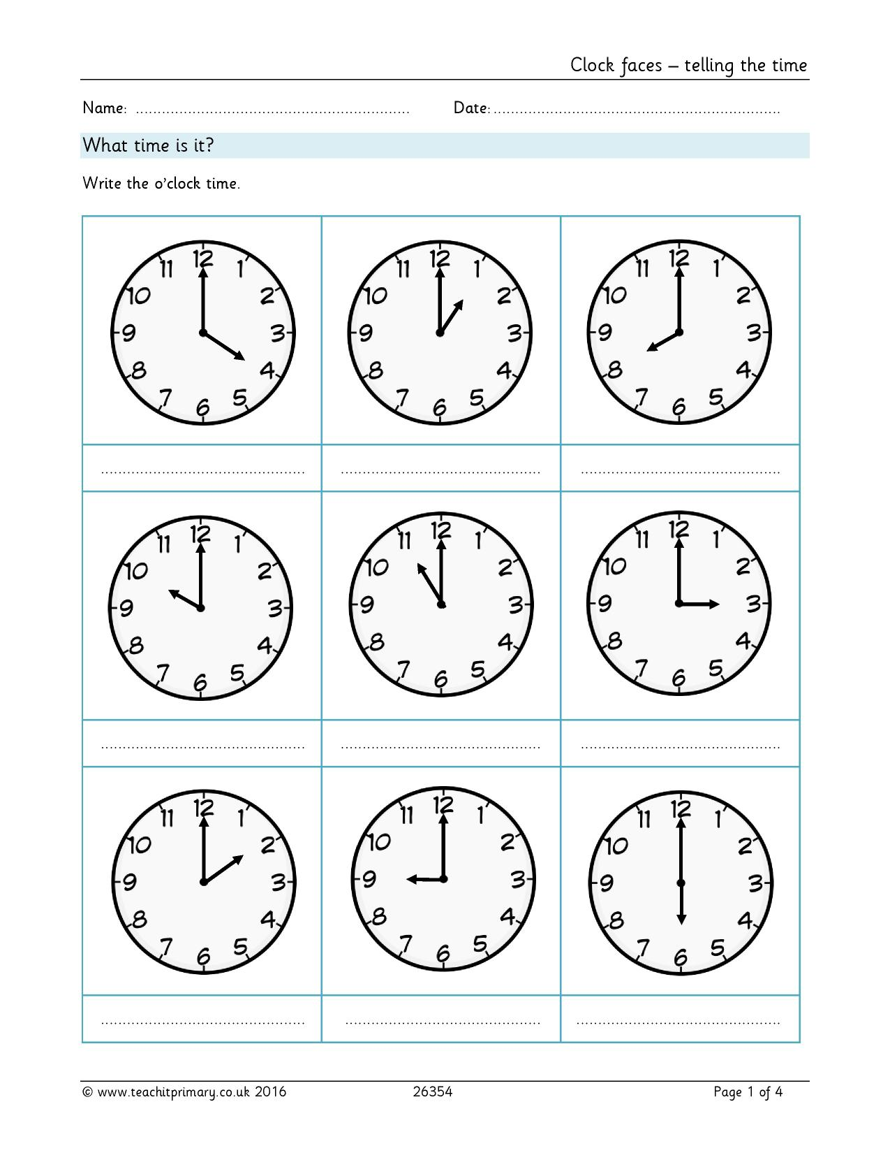 K Ks2 Telling The Time Worksheets