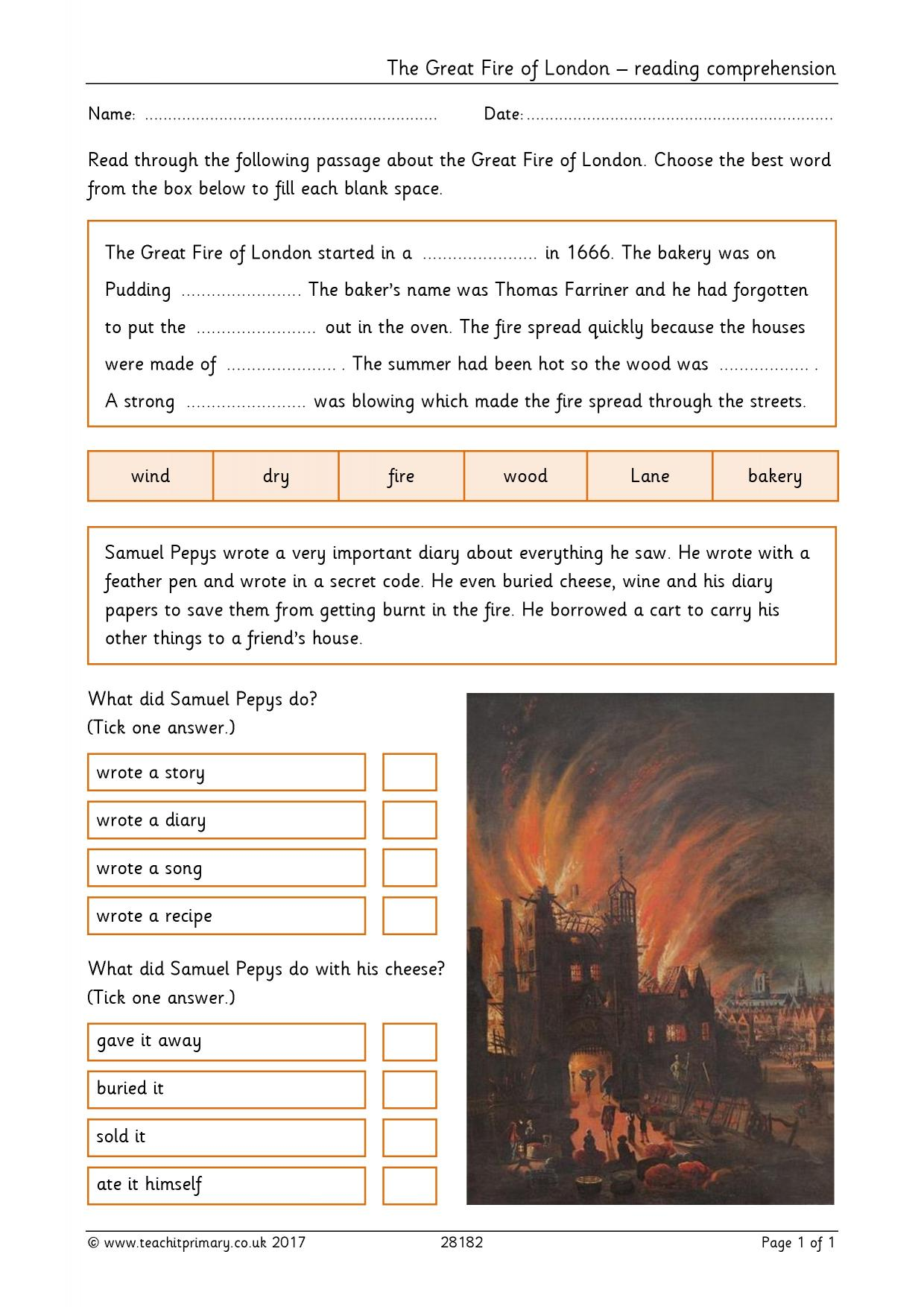 The Great Fire Of London Reading Comprehension