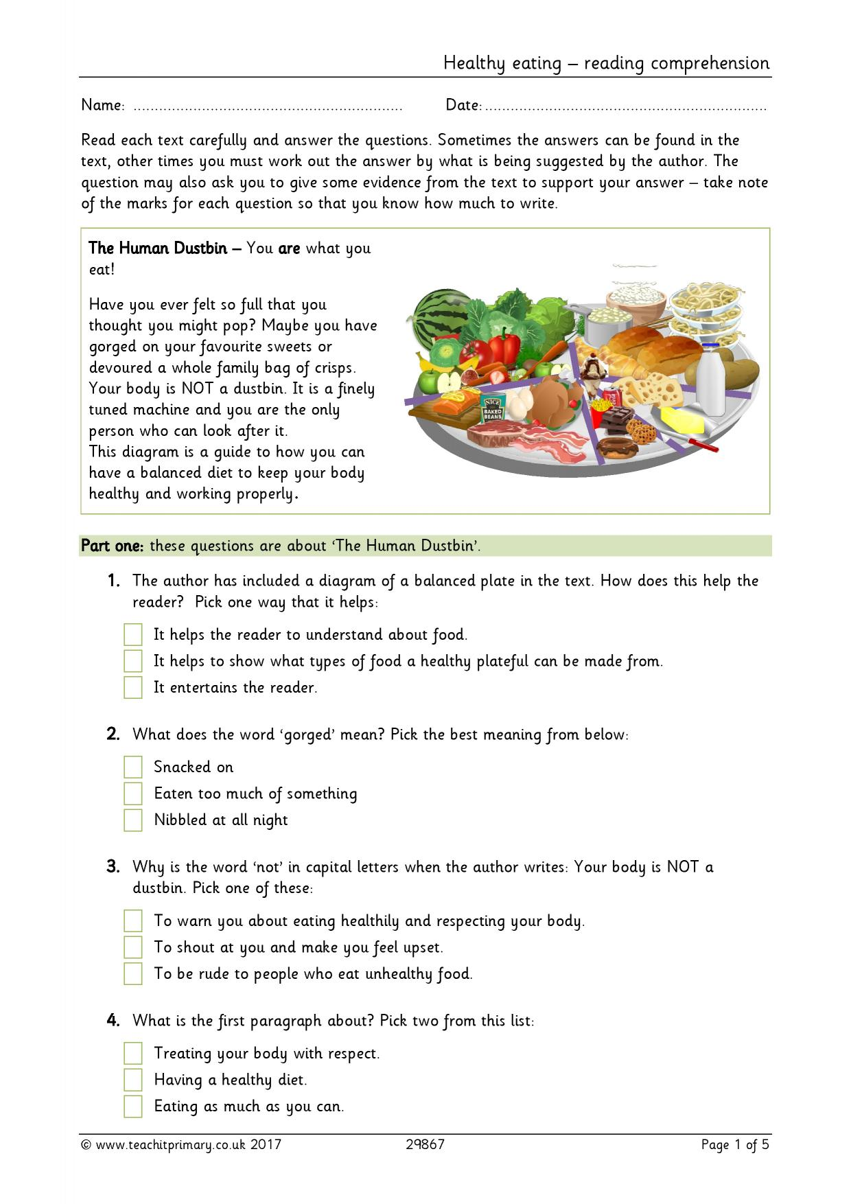 hight resolution of Healthy eating - reading comprehension   Food   Lifestyle   Health   KS2    PDF