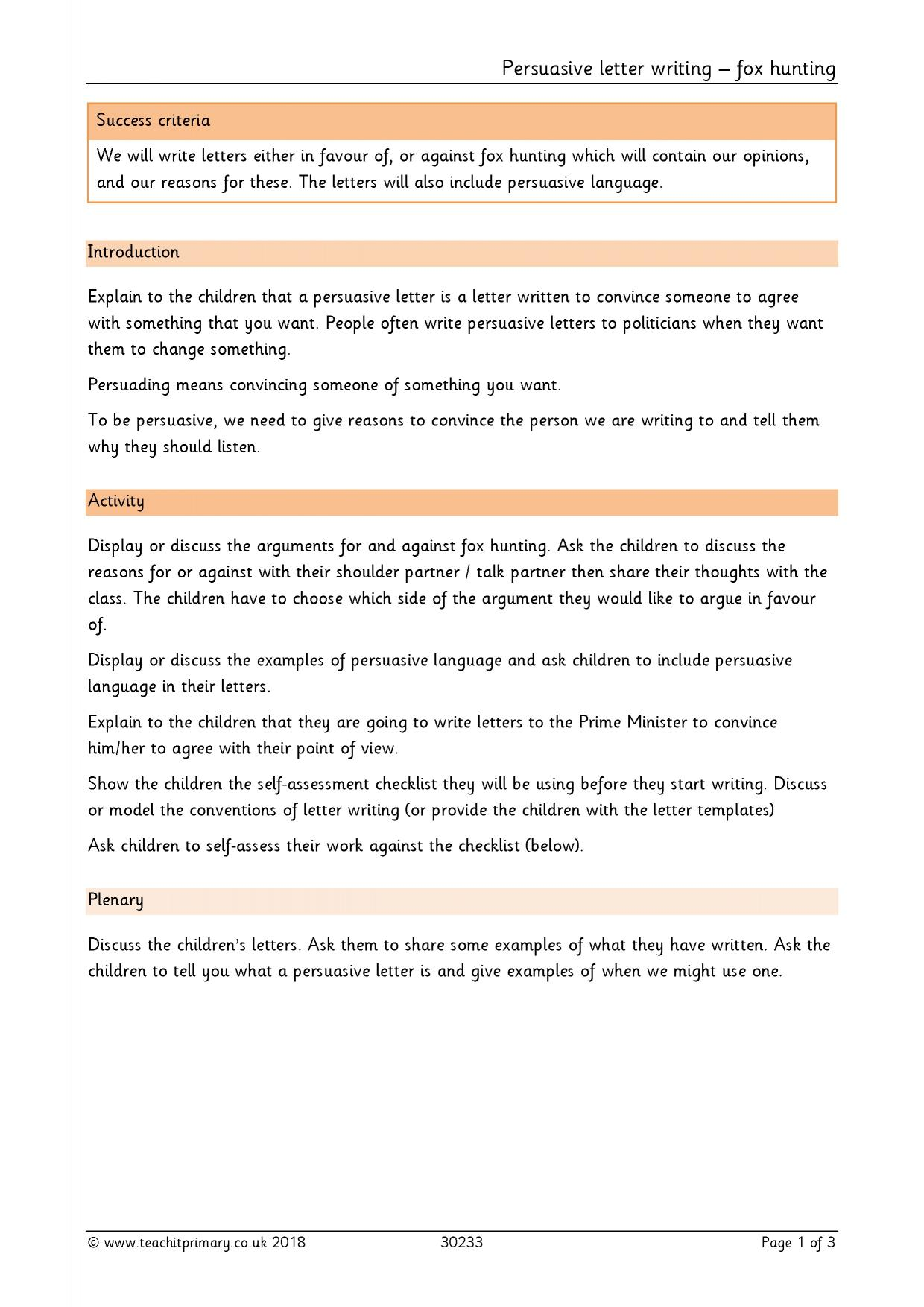 Balanced Argument Writing Frame Ks1