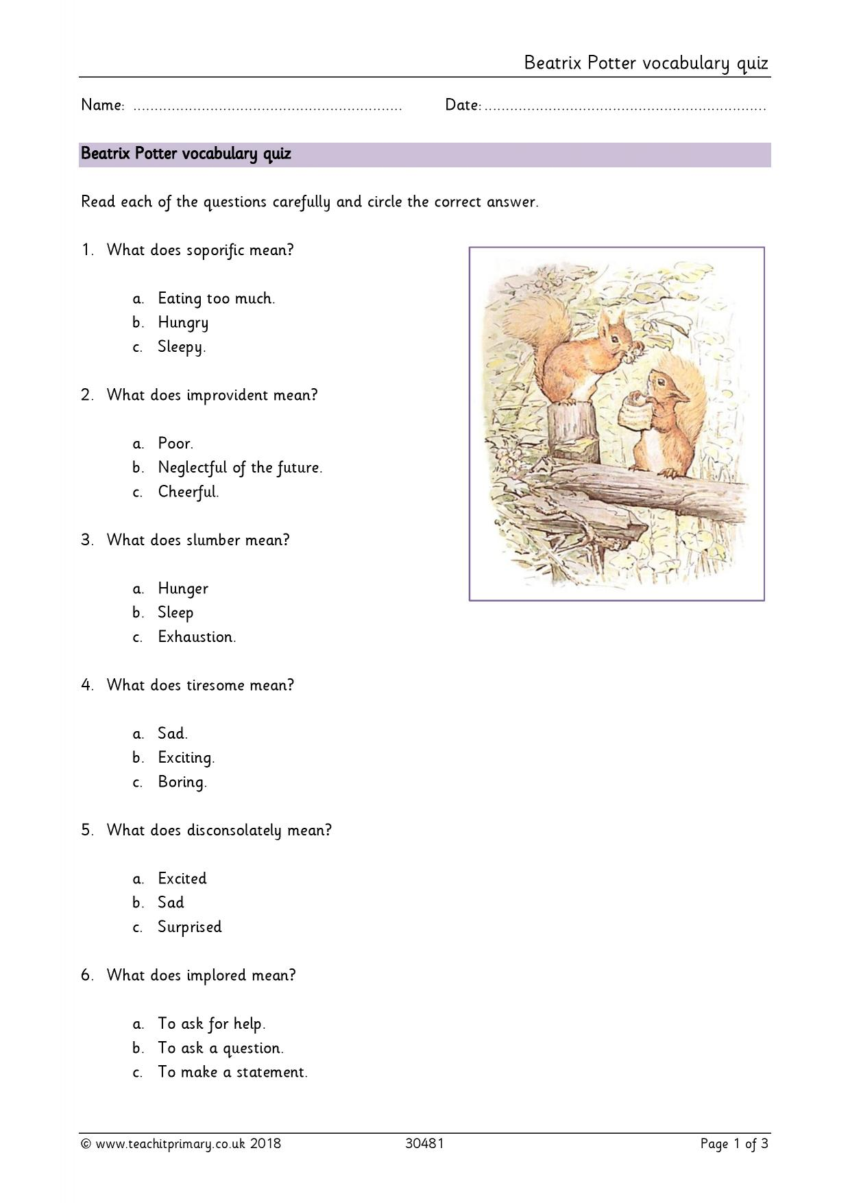 Beatrix Potter Vocabulary Quiz