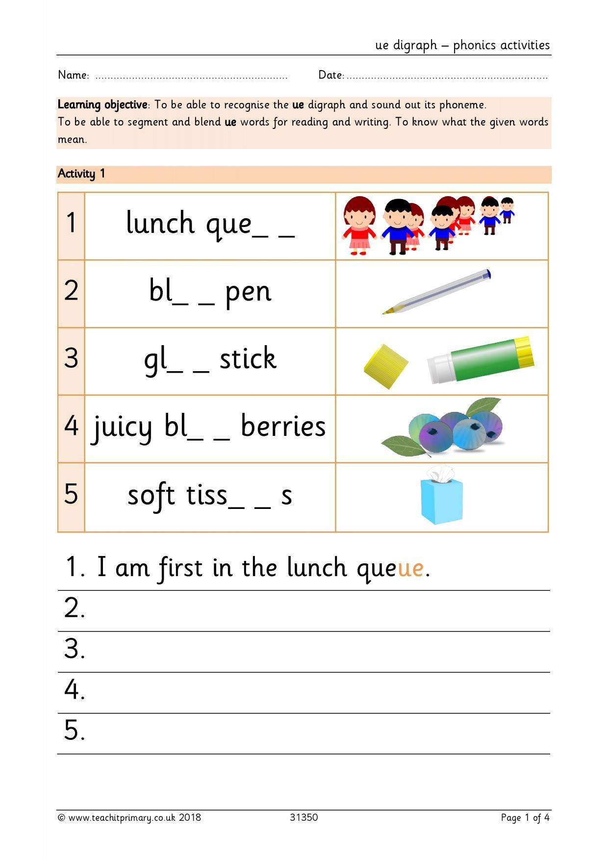 U E Words Phonics Worksheets