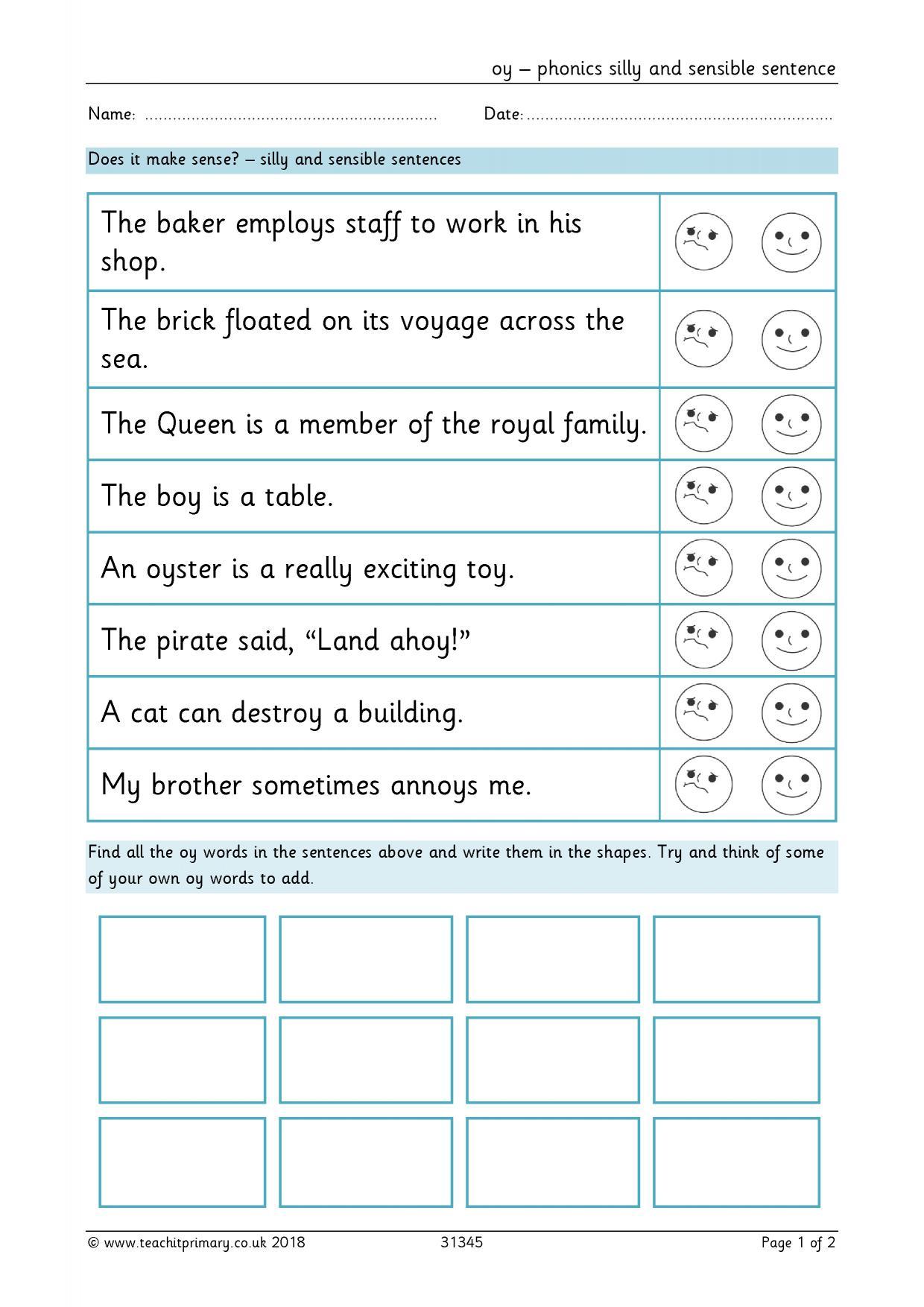 Phonics Worksheet Ks1 Tes