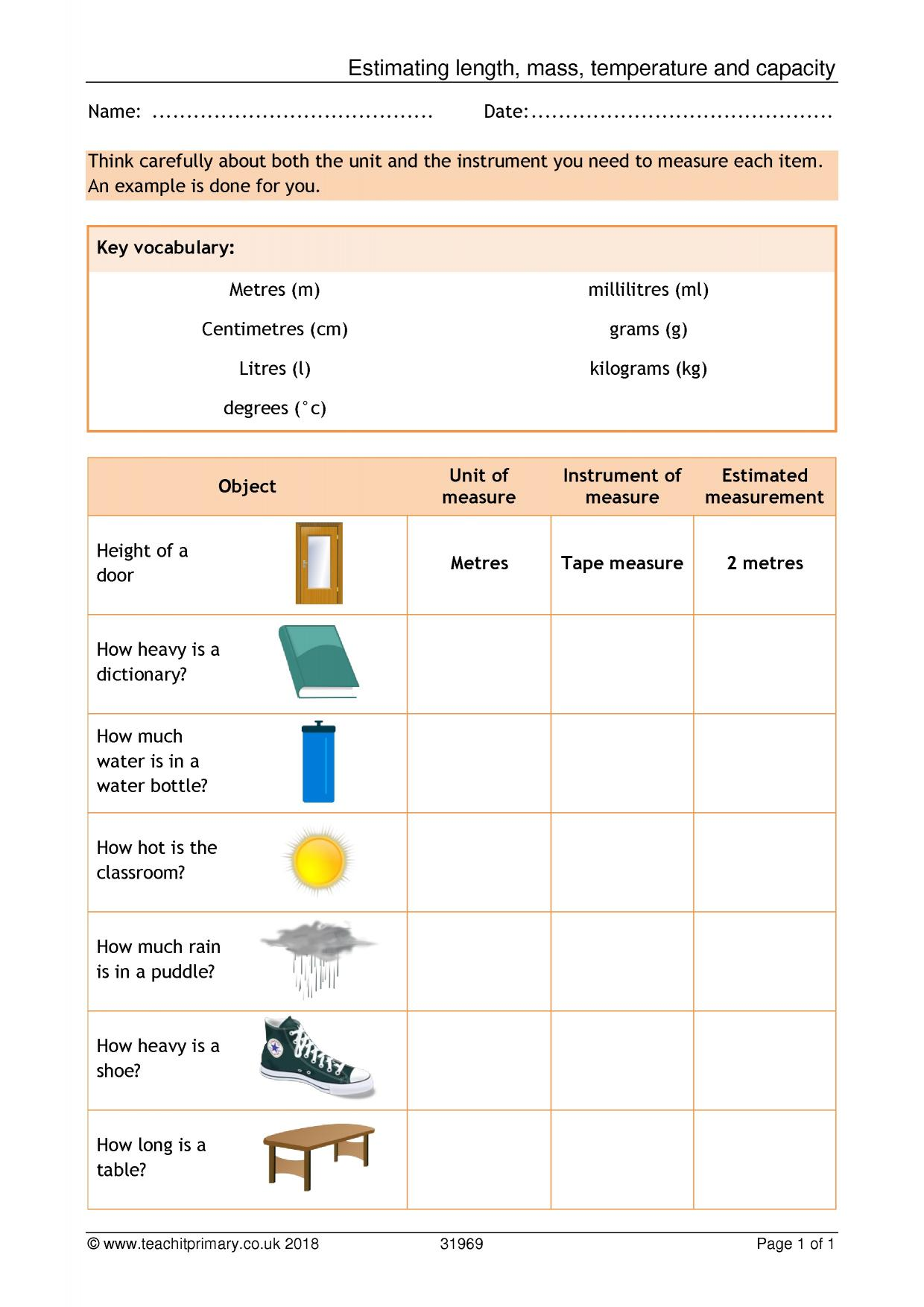 hight resolution of 2nd Grade Worksheets Measurement Length   Printable Worksheets and  Activities for Teachers
