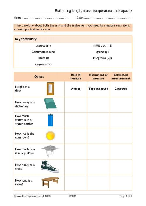 small resolution of 2nd Grade Worksheets Measurement Length   Printable Worksheets and  Activities for Teachers