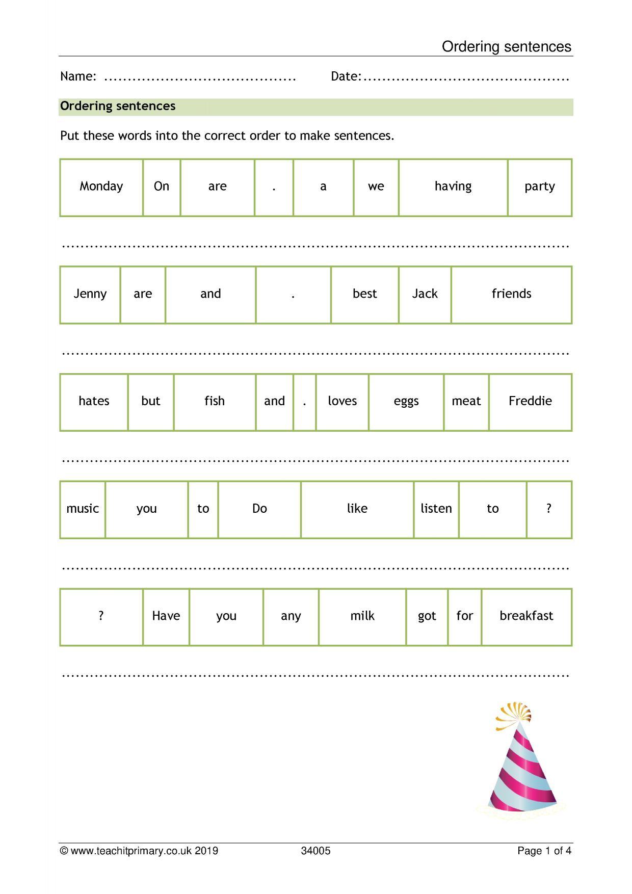 Mockinbirdhillcottage Ks1 Sentence Openers Worksheet