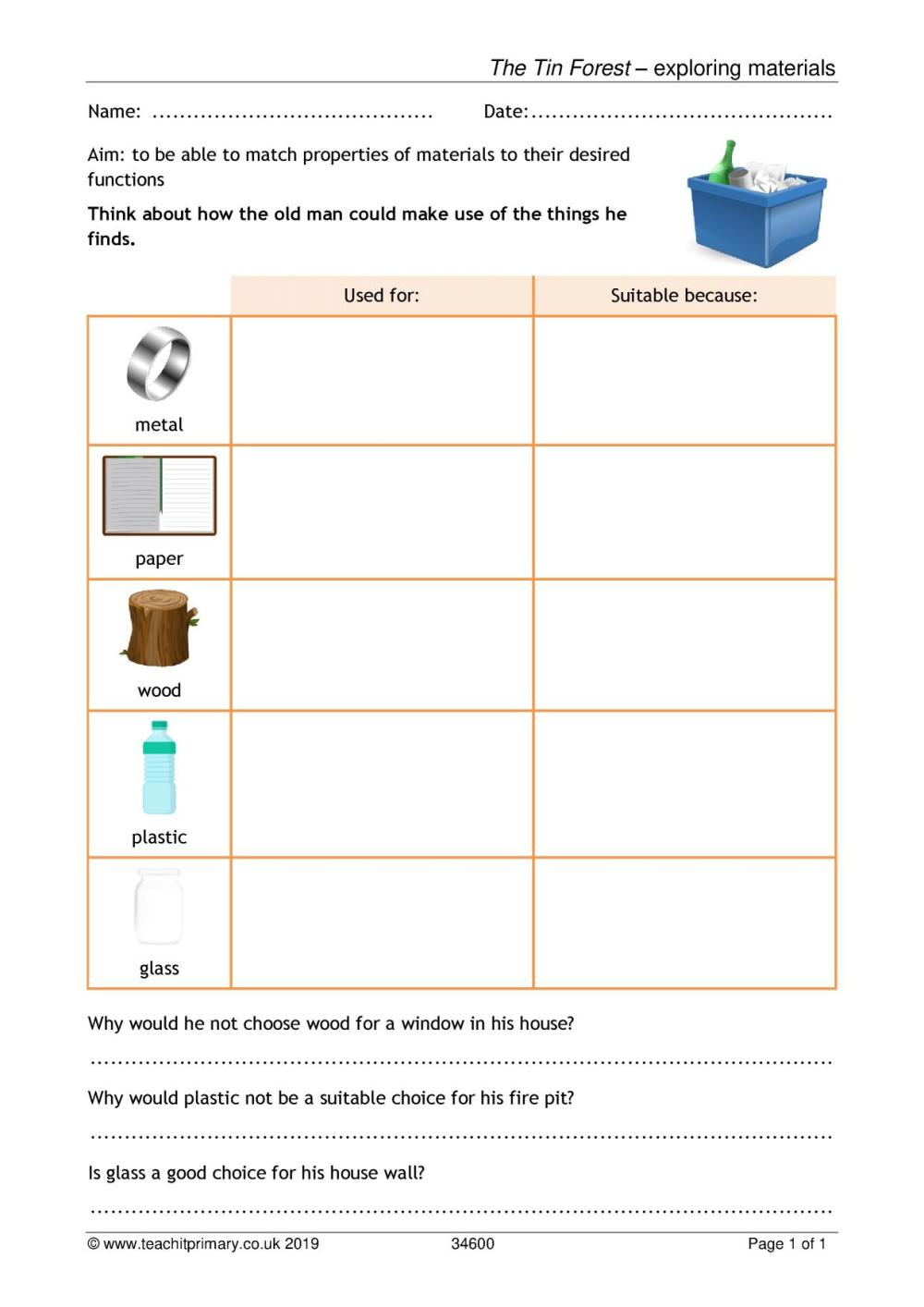 medium resolution of EYFS   KS1   KS2   Everyday materials   Teachit Primary