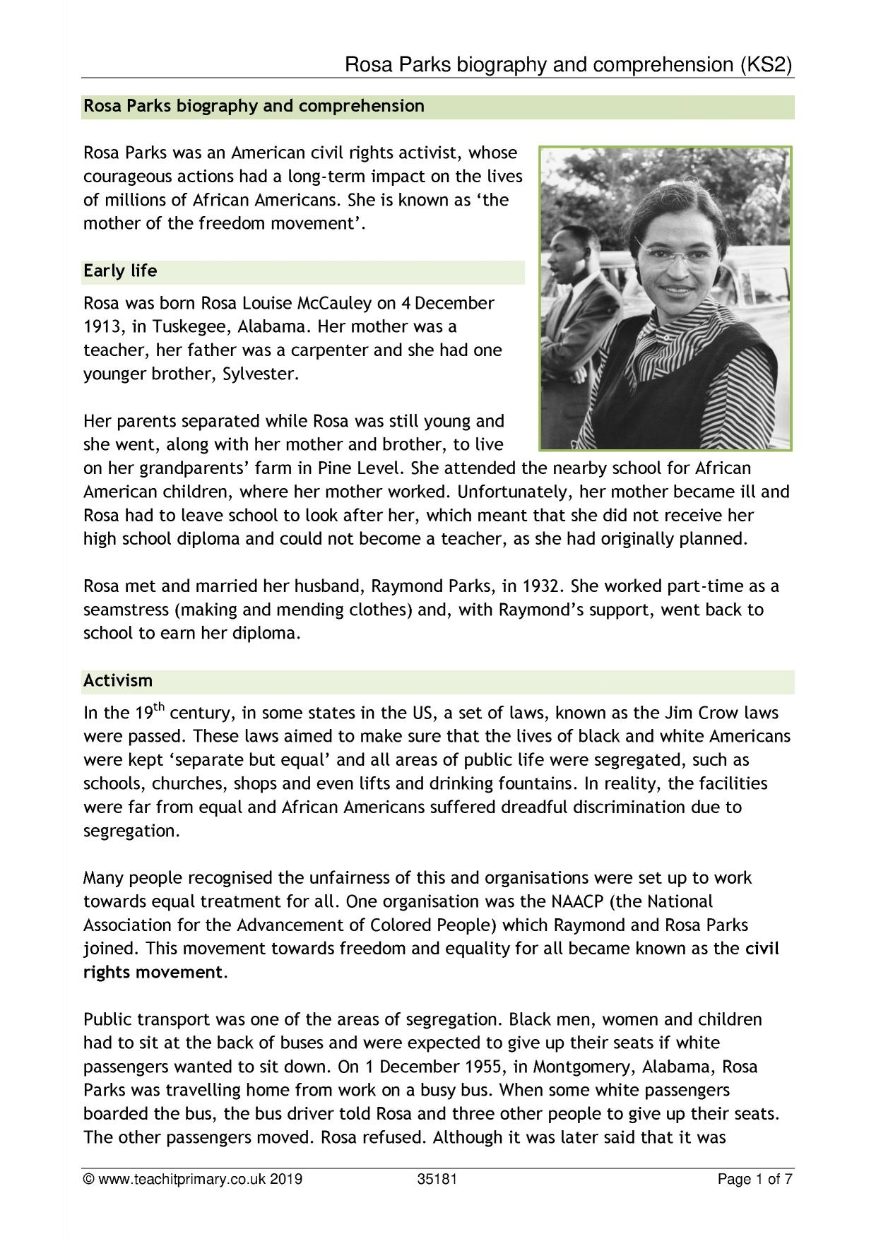 Rosa Parks Biography And Comprehension Ks2
