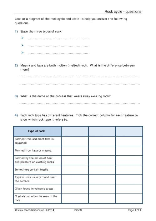 small resolution of Rock cycle questions worksheet with answers