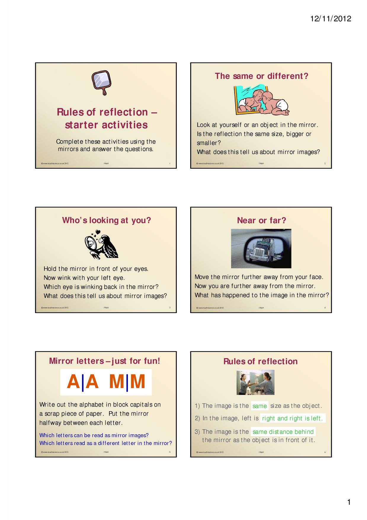 Rules Of Reflection Starter Activities