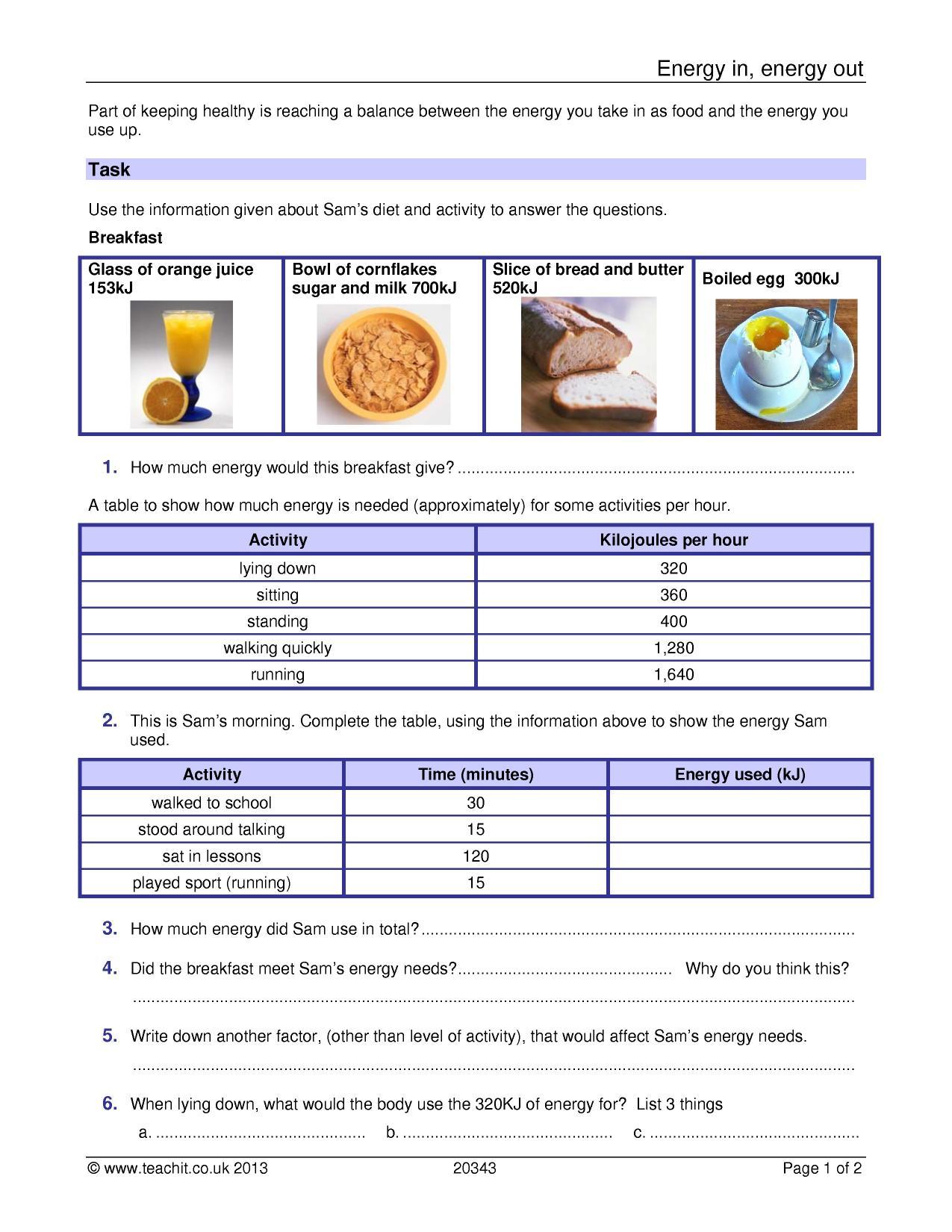 Energy Worksheet Ks3