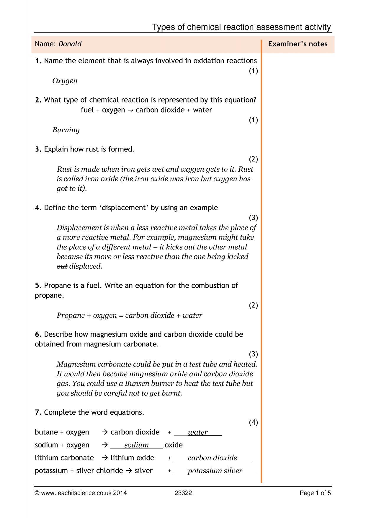 Word Equations Worksheet Ks3
