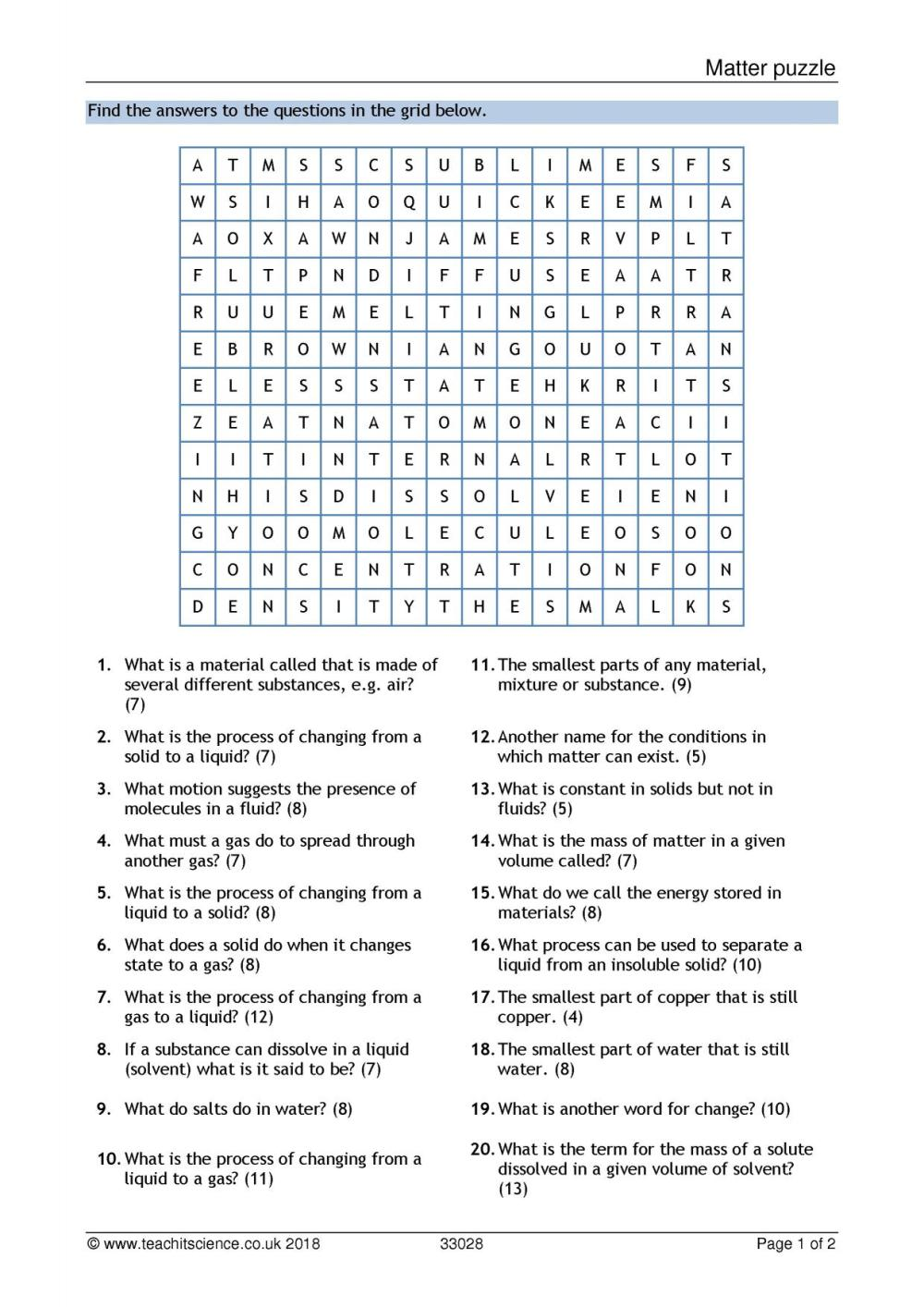 medium resolution of Matching Matter Worksheet   Printable Worksheets and Activities for  Teachers