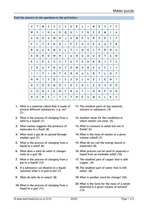 small resolution of Matching Matter Worksheet   Printable Worksheets and Activities for  Teachers