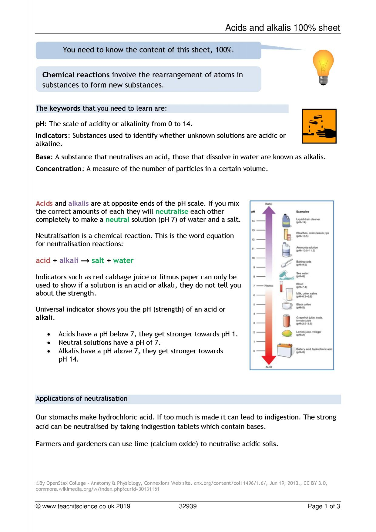 Chemical Reactions Acids And Alkalis Ks3