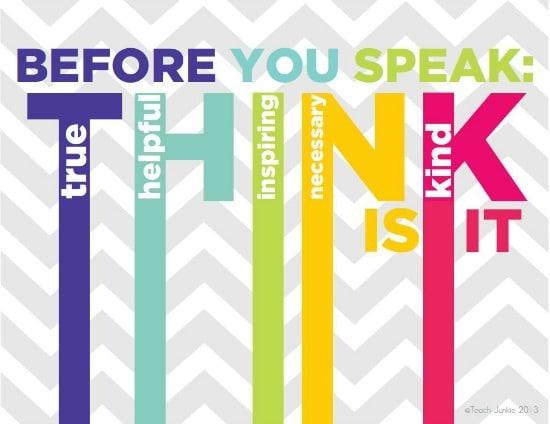 think before you speak printable