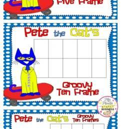 Pete the Cat FREEBIE Ten Frames - Teach Junkie [ 1523 x 700 Pixel ]