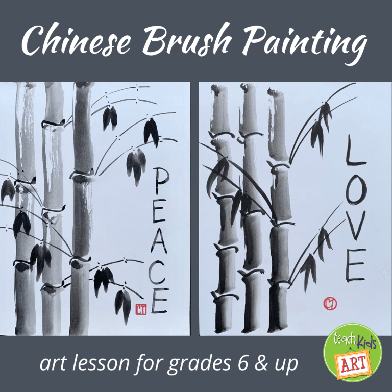 two examples of a Chinese Brush Painting project for kids