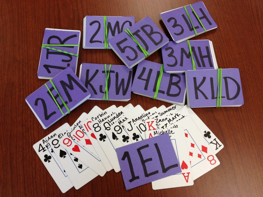 sets of Class Cards on a table