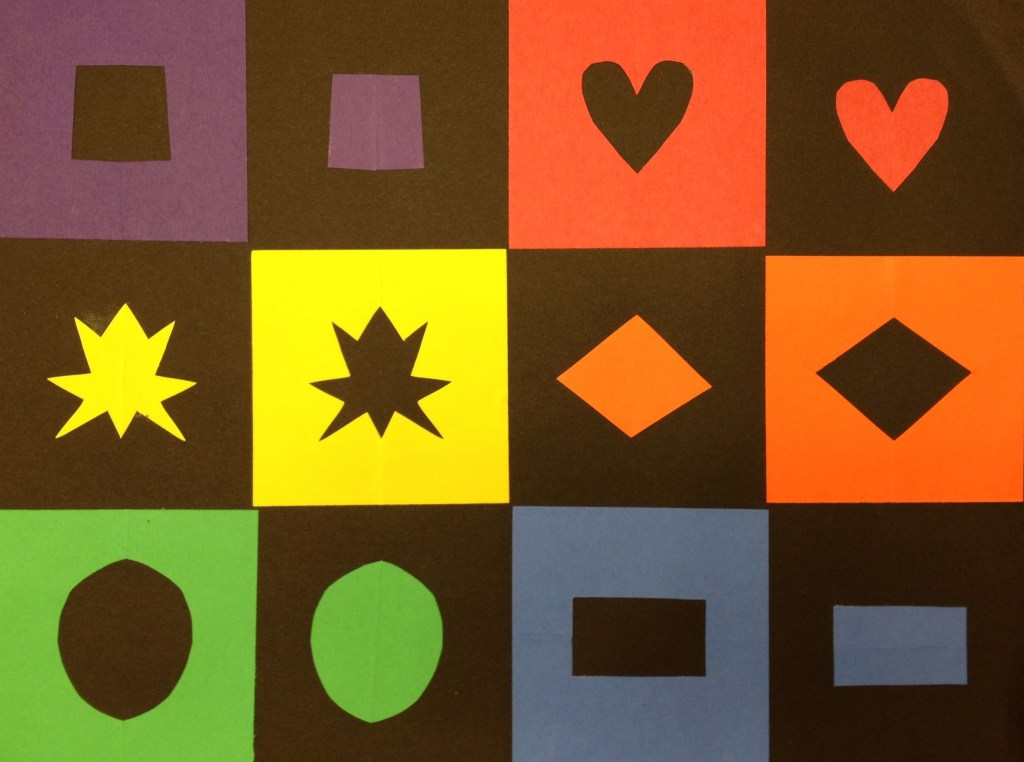 Colorful Collage with Positive and Negative Shapes