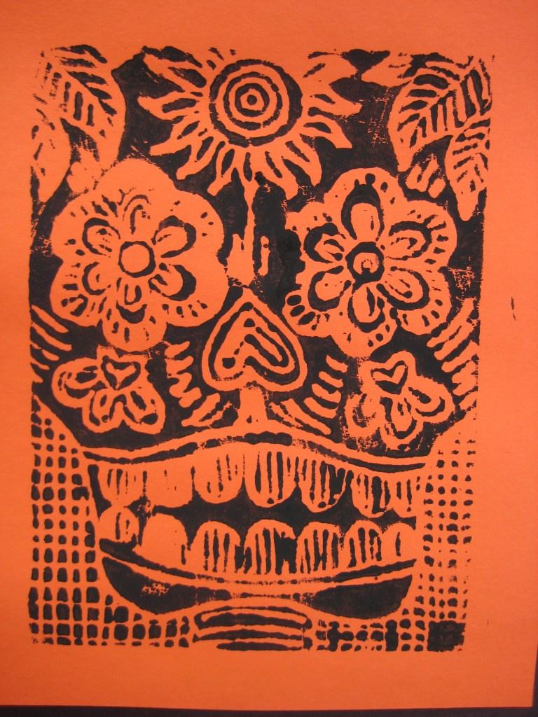 Scratch foam print of a skull inspired by Jose Posada