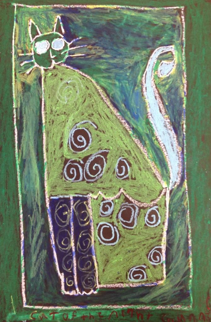 Oil Pastel Cat inspired by Laurel Burch