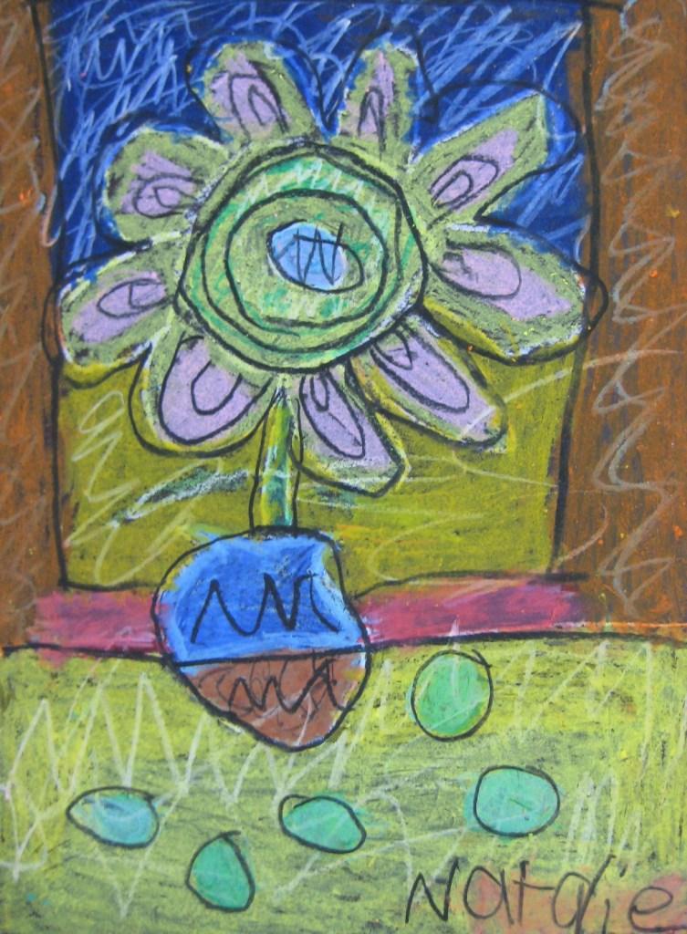 Oil Pastel Flower Inspired by Van Gogh
