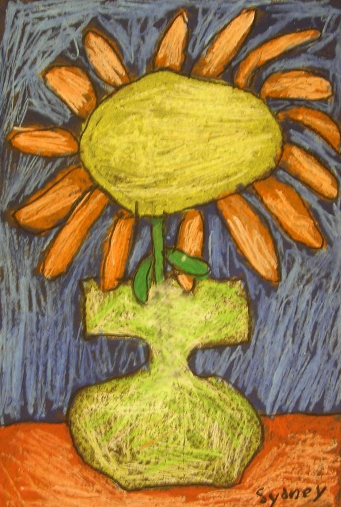 Oil Pastel Flower in a Vase