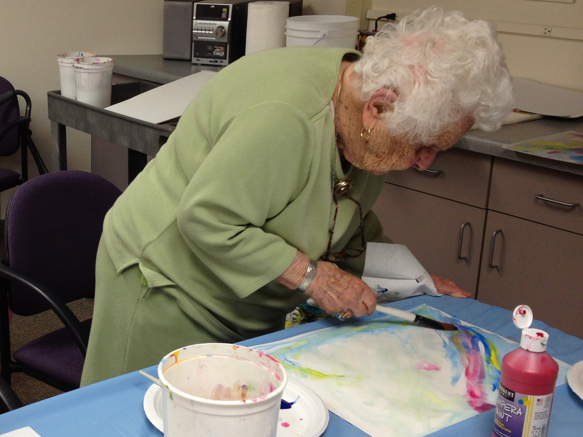 102 year old woman painting!