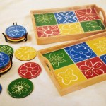 Ceramic Tile Beverage Trays with Coasters auction project